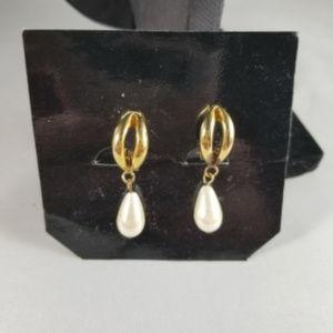 Clip On Earrings Goldtone Faux Pearl Dangle